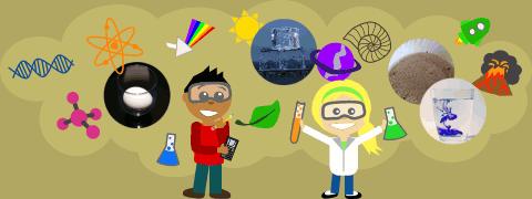 (Ilustração) Rapaz e rapariga com óculos de proteção, lápis e tubo de ensaio rodeados por dupla hélice de ADN, átomos, copo com ovo, prisma decompondo luz, cubos de gelo, folha de árvore, planeta com anel, copo com água e tinta, vulcão e foguetão