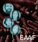 4 círculos contendo retratos de 4 pessoas e logótipo EAAF com imagem de muitas mãos sobrepostas em fundo