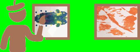 Ícone de pintor visto de costas com pincel frente a quadro (uma mancha colorida) e outro quadro à direita (manchas laranja abstratas)