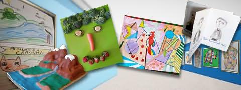 (Montagem fotográfica) Rio entre montanhas em relevo, cara feita com legumes e frutas, desenho colorido e livrinho com desenhos a carvão sobre interior de museu