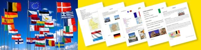 Bandeiras de países da União Europeia e vista reduzida de vários trabalhos com texto e imagens