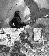 (Ilustrações) Homem com arpão num barco em frente a grande cauda de baleia fora de água; numa gruta, um rapaz toca numa enorme pilha de moedas